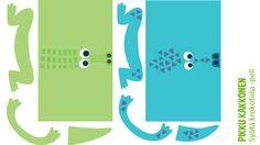 Peli | krokotiili | lasten | juhlat | askartelu | syntymäpäivät | synttärit | askartelu | paperi | tulostettava | game | crocodile | printable| paper | DIY ideas | birthday | party | kids | children | kid crafts | crafts | Pikku Kakkonen