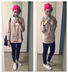 Syaifiena W lookbook.nu/syaifiena  ootd. casual hijab outfit  turban hijab, white sneakers, pants, shirt, paisley, totebag, adids superstar
