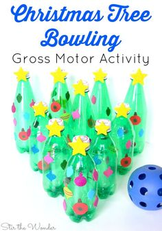Christmas Tree Bowling Gross Motor Activity Christmas Tree Bowling is a great game to play at your next kids' holiday party! It's the perfect game to ecourage movement at the classroom, homeschool co-op or family party! Christmas Party Games For Kids, Preschool Christmas Activities, Christmas Carnival, Holiday Games, Toddler Christmas, Kids Party Games, Christmas Holidays, Holiday Parties, Winter Parties