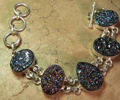 Titanium Druzy Silver Bracelet