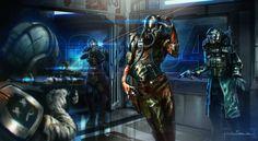 Cyberpunk, future, futuristic, warriors, sci-fi, SpaceRace by ~nathantwist on deviantART