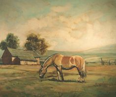 """Fjord Horse oil painting.  It is signed and it looks to say """"I. Brann"""" but we have not found any reference to this artist.  Perhaps Norwegian?"""