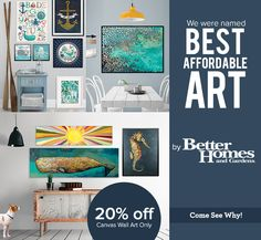 """We were named """"Best Affordable Art"""" by Better Homes & Gardens and now we're celebrating! Save 20% off #CanvasWallArt! #AffordableArt http://www.greenboxart.com/store/canvas-wall-art-1.html"""