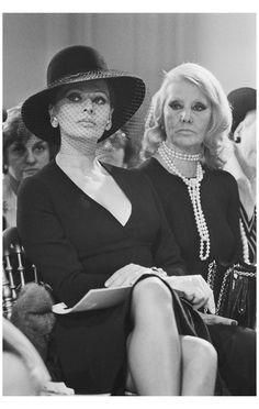 "lafleurflaneur: ""Sophia Loren and her mother Romilda Villani attends a parade Dior atelier in 1974 """
