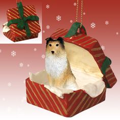 SHELTIE Sable SHETLAND Sheep dog Red Gift Box Ornament RGBD20A  $9.99