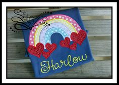 Hearts & Rainbows Applique with Free Monogramming by AprylEatman