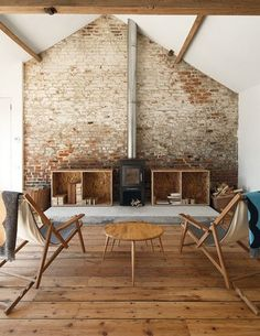 Brick wall + wood stove