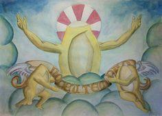 No céu tem pão!  Trabalho a mão em aquarela e um ganhozinho de cor no Photoshop.   PS: Não foi feito em papel de pão!