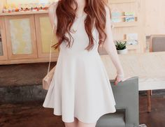 Girl in Dress White Skater Dresses, White Dress, Ulzzang Fashion, Korean Fashion, All White Party, Asian Celebrities, Classic White, How To Look Pretty, Redheads