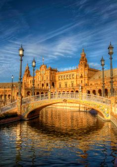 Sunset Rays on Bridge in Plaza De España, Sevilla Spain