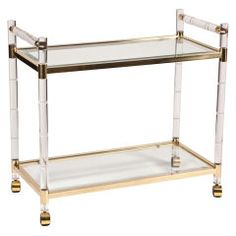 Charles Hollis Jones Stylized Bamboo Lucite & Brass Bar Cart