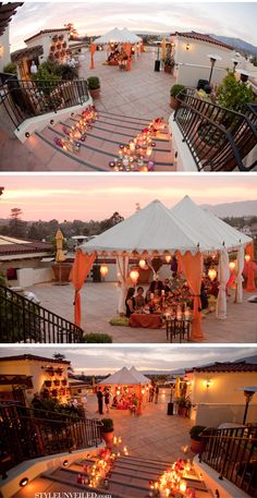 I love the motley candles on the stairwells...and the family-style dinner under white tents. really nice.