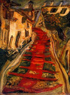 Chaim Soutine - Red Stairway at Cagnes c.1924   De schilderijen van Chaïm Soutine: de afdaling in de maalstroom. (tot 21 januari 2013 in Musée de l'Orangerie in Parijs)