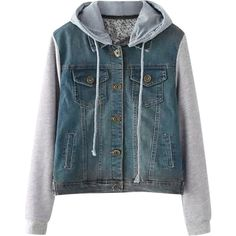 Hooded String Buttoned Denim Spliced Jacket ($22) ❤ liked on Polyvore featuring outerwear, jackets, hooded jacket, blue jackets, button jacket, hooded denim jackets and denim jacket