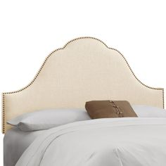 Skyline Arch Nail Button Twill Upholstered Headboard | from hayneedle.com