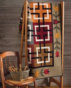At Home with Country Quilts 7 love the interlocking squares in black and white