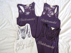 1 bride and 3 Bridesmaid Tank Top Shirt Half Lace -- but the bridesmaids in BLUE