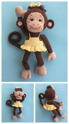 Amigurumi Cute Monkey Free Crochet Pattern – Free Amigurumi Crochet Monkey Pattern, Crochet Amigurumi Free Patterns, Crochet Animal Patterns, Stuffed Animal Patterns, Crochet Animals, Free Crochet, Beginner Crochet, Easy Crochet, Amigurumi Giraffe