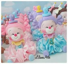Circus Theme Party, Circus Birthday, Party Themes, Felt Doll Patterns, Stuffed Toys Patterns, Fondant Decorations, Cute Clay, Fondant Figures, Cold Porcelain