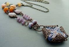 Romantic Filigree-Wrapped Pendant Necklace - use up bead oddments