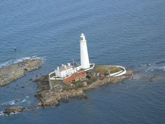 :: Aerial photo of St Mary's Island at high tide, near to Hartley, Northumberland, Great Britain by Neil Reed Oh The Places You'll Go, Places To Visit, September Holidays, North Shields, Aerial Images, Northern England, Isle Of Wight, Aerial View, Newcastle