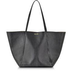 Linda Farrow Designer Handbags Black Ayers and Calf Leather Tote (4,185 ILS) ❤ liked on Polyvore featuring bags, handbags, tote bags, black, man tote bag, logo tote bags, calfskin purse, tote bag purse and tote handbags