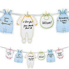 Welcome Baby Garland Our Welcome Baby Garland is a creative and unique way to let guests tell mommy and baby you love them. Illustrated cards shaped like baby snapsuits, bibs, footies and overalls are ready for writing heartfelt messages the mom-to-be will treasure forever. Package includes a 6ft long ribbon clothesline, 24 cards, and 24 multicolored pastel clothespins for securing messages to the clothesline. $4.99