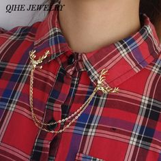 QIHE JEWELRY Vintage Personalized Deer Collar Pin Factory Direct Sales Fashion Jewelry Retro Brooch Shirt Collar Pin Brooch
