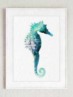 Sea Horse Watercolor Print Gift Idea. Seascape Turquoise Nautical Painting. Seahorse Home Decor Blue Nautical Wall Decoration.  Type of paper: Prints up to (45x30cm) 12x18 inch size are printed on 200g/m2 structured off-white Fabriano Watercolor Paper and retains the look of original