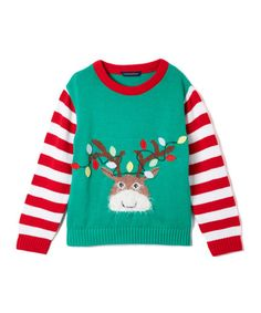 Look what I found on #zulily! Green & Red Reindeer Sweater - Toddler & Boys #zulilyfinds
