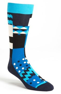 Hy Socks Check Blue Aqua