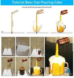 Such amazing cakes Gravity defying cake tutorial Beer Can Cakes, Beer Mug Cake, Beer Cakes Diy, Anti Gravity Cake, Gravity Defying Cake, Cake Decorating Techniques, Cake Decorating Tutorials, Design Tutorials, Decorating Supplies