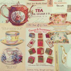 【ラッピングペーパー】ティー¥500/様々な茶器と紅茶缶が描かれたラッピングペーパーです。