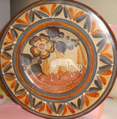 Vintage Tonala Mexican Pottery Hand Painted Plate