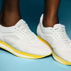 Jourdan wearing The Field Sneaker in white leather with a colour block sole