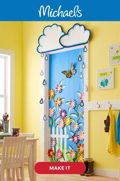 Spring Door, Spring Art, Spring Crafts, Umbrella Decorations, School Door Decorations, Preschool Door, Preschool Crafts, Spring Bulletin Boards, School Doors