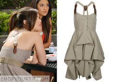 Aria Montgomery (Lucy Hale) wears this striped ruffle buckle dress in this week's episode of Pretty Little Liars. It is the AllSaints Nightingale Stripe Melody Dress. Unfortunately it is unavailable