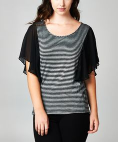 Love this Charcoal & Black Stripe Flutter-Sleeve Top - Plus by Tua Plus on #zulily! #zulilyfinds