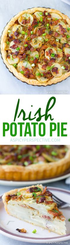 Irish Potato Pie is part of pizza - Savory Irish Potato Pie Recipe Crispy crust layered with potatoes, onions, and bacon The Saint Patrick's Day favorite is a must have at an Irish dinner! Pie Recipes, Potato Recipes, Cooking Recipes, Irish Food Recipes, Recipies, Irish Potato Pie Recipe, Irish Potatoes, Pizza, Mary Berry