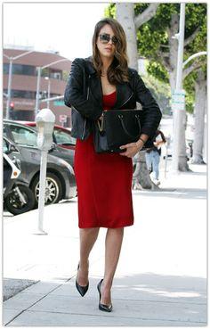 Street Style: Jessica Alba. | red dress. Leather jacket. Black pumps.