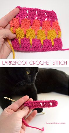 #Crochet_Stitches - Larksfoot crochet stitch is a quick and easy stitch and is wonderful for color play too! Enjoy from #KnittingGuru ** http://www.KnittingGuru.etsy com