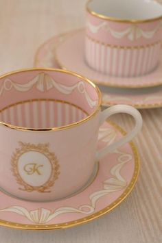 Pink and gold tea cups and saucers: Tea Party, Tea Time, Porcelain by VoyageVisuel