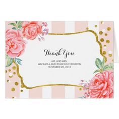 Pink Wedding Thank You Cards floral stripes - gold confetti wedding thank you card