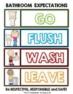New Ideas School Bathroom Signs Classroom Labels, Classroom Rules, Kindergarten Classroom, Classroom Organization, Classroom Management, Behavior Management, Classroom Themes, Classroom Bathroom, School Bathroom