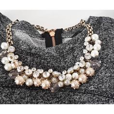 Pearl And Diamond Statement Necklace #fashion #style #outfit #pearls…