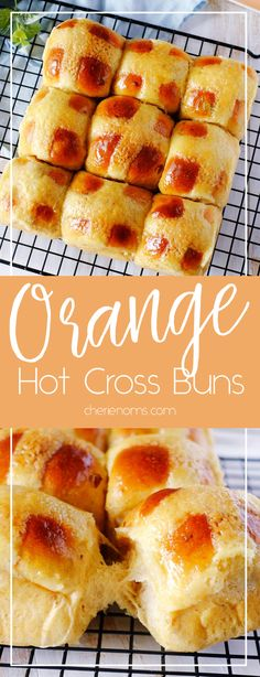 Orange hot cross buns with warm scent of cinnamon and nutmeg. #bread #baking