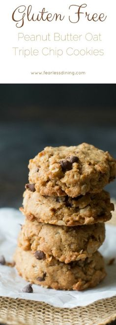 Easy gluten free peanut butter oatmeal chocolate chip cookies. How to make gluten free cookies.  via @fearlessdining