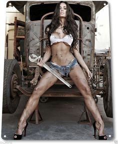 """TIN SIGN """"Big Wrench"""" Metal Decor Wall Art Pin-up Girl Auto Shop Garage A780 
