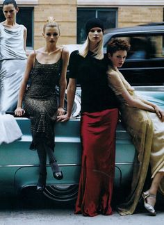 Stella Tennant, Trish Goff, Christina Kruse and Kylie Bax shot by Steven Meisel for US Vogue July 1996 | Scans courtesy kelles @ the fashion spot