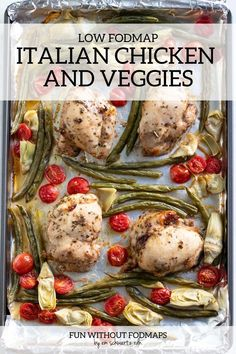 This 8-ingredient Low FODMAP Italian Chicken and Veggies features tender chicken thighs flavored with Italian herbs and low FODMAP amounts of roasted green beans, cherry tomatoes, and canned artichokes. Serve this sheet pan meal over whole-grain quinoa or brown rice. #lowfodmap #chicken #supper Supper Recipes, Great Recipes, Healthy Recipes, Healthy Meals, Healthy Food, Healthy Eating, Yummy Food, Low Fodmap, Fodmap Diet
